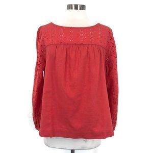 J CREW Coral Pink Eyelet Lace Linen Blouse